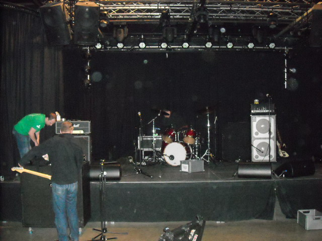 Setting up at Club 4AD in Diksmuide, Belgium.